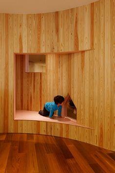 Archivision Hirotani Studio | アーキヴィジョン広谷スタジオ | レイモンド田無保育園(2期) Nursery School, Inside Outside, Kid Spaces, Table Furniture, Childcare, Colorful Interiors, Elementary Schools