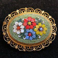 Colorful Italian Glass Micro Mosaic Tesserae Millefiori Brooch Pin 1.75 Green