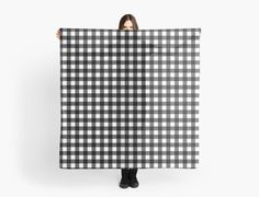 Buffalo plaid scarf in white and black. by linepush