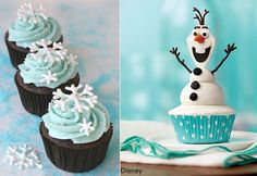 cupcakes fiesta Frozen http://www.entrechiquitines.com/recetas/recetas-infantiles-para-un-cumpleanos-de-frozen/