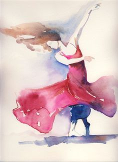 Watercolor Dance Illustration   Dance Study by silverridgestudio