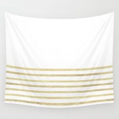 White and Gold Stripes Wall Tapestry