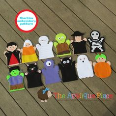 PATTERN Set of 12 Halloween *** Finger Puppets *** In The Hoop ITH Machine Embroidery Digital Design Files - EMBRoiDeRy MaCHiNe PaTTeRN by TheAppliquePlace on Etsy https://www.etsy.com/listing/159442742/pattern-set-of-12-halloween-finger