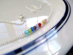 Birthstone Bar Necklace - Sterling Silver or Bronze Glass Birthstone Minimalist Layering Necklace by KatyaValera