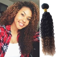 """3Bundles Ombre Human Hair Extensions 18"""" Afro Curly Wave Virgin Hair Wefts #wigiss #HairExtension"""