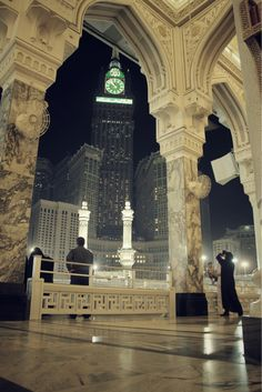The Mecca Clock Tower from inside the Grand Mosque - Saudi Arabia