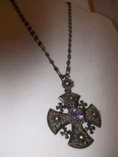 Sterling Silver Old Jerusalem Cross Pendant Necklace aka Crusaders Cross