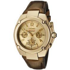 Seiko Women's SRW892 Sportura Chronograph Gold Dial Bronze Leather Watch Seiko