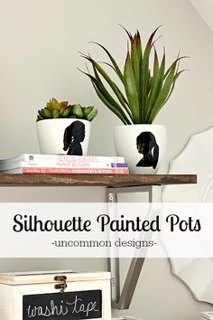 Personalize a planter or pot with a painted silhouette!  An easy project that looks like a million bucks and makes a perfect gift!  #MothersDay  Uncommon Designs