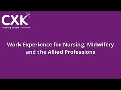 Work Experience for Nursing, Midwifery, and the Allied Professions - YouTube Midwifery, Learning Resources, Nursing, Remote, Youtube, Youtubers, Teaching Resources, Youtube Movies, Pilot