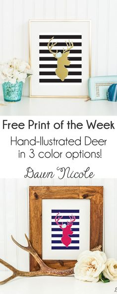 Free Print of the Week: Striped Deer Print. This hand-illustrated print is available in 3 color options! | bydawnnicole.com