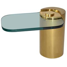 Brass & Glass Side Table by Karl Springer  