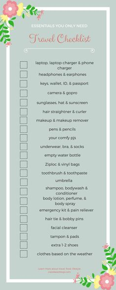 Essentials | Travel Checklist | Make sure you never forget another item at home with this checklist! Read more about travel destinations, travel hacks, and things to do at clairebearblogs.com