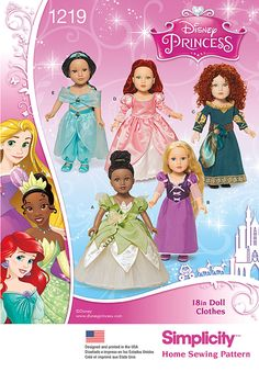 Simplicity 1219 Disney Princess Doll Clothes Pattern for Dolls.biz for vintage sewing patterns and doll clothes patterns. Disney Princess Costumes, Disney Princess Fashion, New Disney Princesses, Disney Princess Dresses, Disney Outfits, Princess Gowns, Princess Tiana, Disney Dolls, Disney Clothes