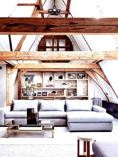Amsterdam canal loft house tour with soaring high ceilings and exposed beams for days. Historic two story loft designed with rustic charm and character. Casa Loft, Loft House, Loft Design, House Design, Living Room Designs, Living Spaces, Living Rooms, Dog Spaces, Family Rooms