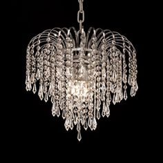 "Elegant Lighting 6801D14C/SS Falls Collection Hanging Fixture D14"" x H12"" Chrome Finish (Swarovski Strass/Elements Crystals)"