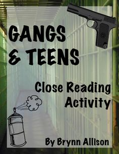 This close reading is the perfect addition to any lesson on youth crime and teens in gangs. Related novels include Monster by Walter Dean Myers, The Outsiders by S. E. Hinton, Romiette and Julio by Sharon M. Draper, and many books in The Bluford Series. Students will read and respond to questions. After reading, students will create a mind map summarizing the information in the article. You can also hold a class discussion making connections between the article and other texts.