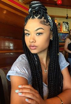 Black box braids with color