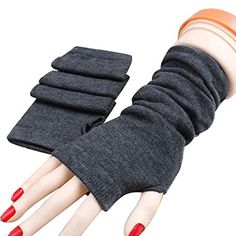 Braceus Women's Knitted Wrist Arm Warmers Long Fingerless Gloves Mittens - Dark Grey ** Read more  at the image link.