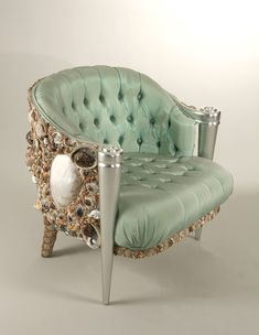 This whimsical bergere is upholstered in button tufted sea foam green silk and encrusted in seashells, with silver leaf front legs. The chair is titled the Decor, Furniture, Funky Furniture, Interior, Chair, Home Decor, Interior Design, Jackson Furniture, Furnishings