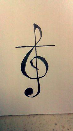 Treble clef cross tattoo