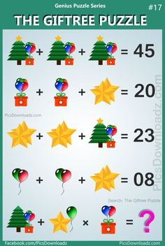 will fail to attempt this logic math puzzle. The Giftree Puzzle Difficult Math Puzzles with answer! Search items: The Tree Gift Puzzle Gift and Tree Puzzle Tree Star Gift Puzzle viral math puzzle viral whatsapp puzzle. Math Logic Puzzles, Math Quizzes, Number Puzzles, Math Games, Logic Games, Math Riddles With Answers, Brain Teasers With Answers, Tricky Riddles, School