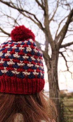Blue red white ski beanie hat with pompon / Unisex by 2knit2purl