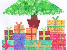 Presents under fringed tree - Christmas card artwork ideas