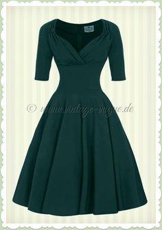 Collectif 40er Jahre Pin-Up Retro Swing Kleid - Trixie Doll - Petrol Grün
