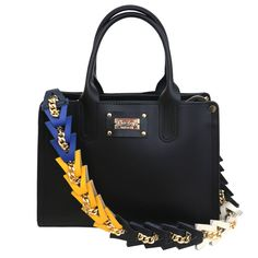"""New """"LA NERETTA""""!! Genuine black leather with multicolor shoulder strap. Shop at: www.chixbags.it Original Handmade Bags Tuscany/Italy Worldwide shipping info@chixbags.it"""