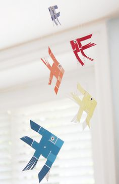 NEW BABY - Paint chip fish mobile tutorials
