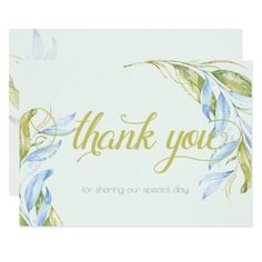 Watercolor Modern Boho Leafy Branches Thank You Card - wedding invitations diy cyo special idea personalize card