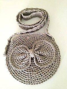 Grey circle crocheted bag with Bow And Flower by cookieletta
