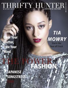 Tia Mowry-Hardrict on the cover of Thrifty Hunter Couture and Culture Magazine Winter 2015.