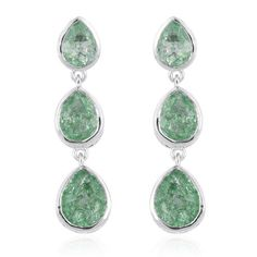 Emerald Green Crackled Quartz (Pear) Earrings (with Push Back) in Platinum Overlay Sterling Silver Ct. - 2538665 at TJC. 30 Days money back guarantee. Gifts For Mum, Gifts For Women, Harrods, Emerald Green, Overlays, Pear, Best Gifts, Quartz, Drop Earrings