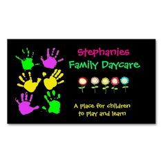 Family Daycare Business Card. I love this design! It is available for customization or ready to buy as is. All you need is to add your business info to this template then place the order. It will ship within 24 hours. Just click the image to make your own!