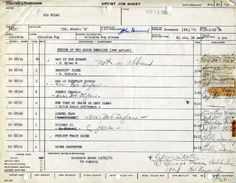 "Bob Dylan's Nov. 27, 1961 ""Artist Job Sheet"" from Columbia Records via The Official Bob Dylan Site"
