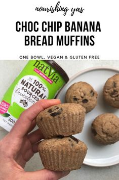 Vegan Choc Chip Banana Bread Muffins | One Bowl & Gluten Free | Nourishing Yas - Simple Plant based Recipes #healthyrecipes #bananabread #veganbananabread #veganmuffins #vegandesserts #onebowl #glutenfree #chocchip #chocchipmuffins #vegancake