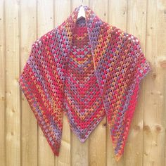 Crochet triangle scarf, crochet shawl, road trip scarf, festival, autumn colours, red, brown, wool free, granny stripe, traditional, gift