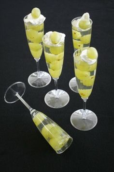 For New Year's Eve!! Champagne Jello Grape Flutes