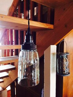 Mason Jar Pendant Lamp- Quart Open Bottom- Rustic Brown