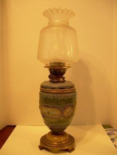 Beautiful Victorian Hinks & Sons Ceramic Oil Banquet Lamp, Original Glass Shade #HinksandSons