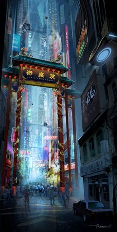 ArtStation - Petaling Street in year 23XX, Takashi Tan