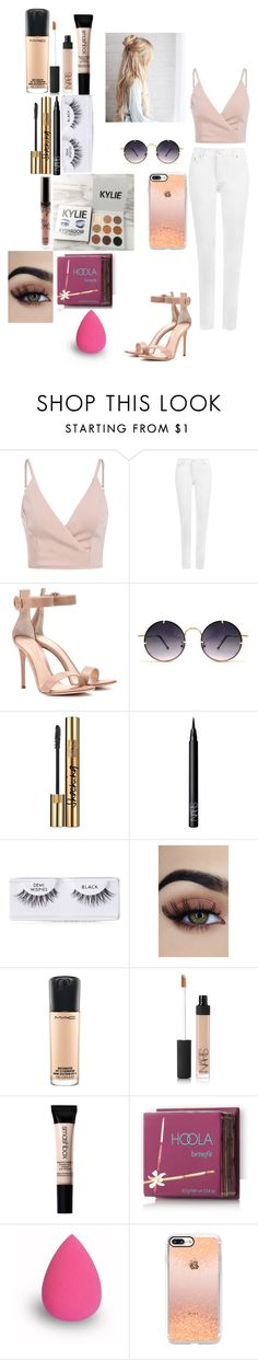 """""""Bright peach"""" by farahaly ❤ liked on Polyvore featuring WearAll, Gianvito Rossi, Spitfire, Kylie Cosmetics, Yves Saint Laurent, NARS Cosmetics, Ardell, MAC Cosmetics, Smashbox and Hoola"""