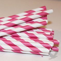 Vintage Paper Drinking Straws - Hot Pink Striped Paper Straws (Pack of 25 Retro Straws)
