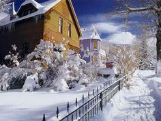 Snowy house winter scene