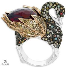 Swan ring by Zorab Atelier de Creation - USA . Made of Gold and Palladium with multi-Colored Diamonds and Rubellite. Feather Jewelry, Bird Jewelry, Jewelry Art, Gemstone Jewelry, Jewelery, Women Jewelry, Jewelry Design, Designer Jewellery, Jewelry Show