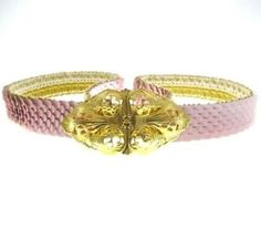 """28-34"""" Vintage Pink Plastic Scale Belt With Goldtone Metal Buckle Stretch Costume Accessories, Fashion Accessories, Festival Sunglasses, Animal Bag, Pink Plastic, Unusual Jewelry, Pretty And Cute, Metal Buckles, Vintage Pink"""