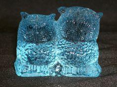 Vintage Art Glass Owl Ice Blue Pair by GarageSaleGlass on Etsy, $14.99