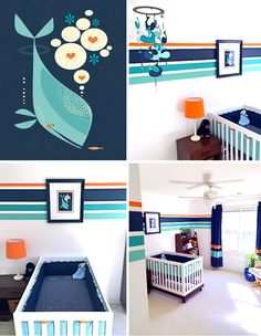 child's bedroom: striped wall treatment inspired by whale print nursery art by Tracy Walker